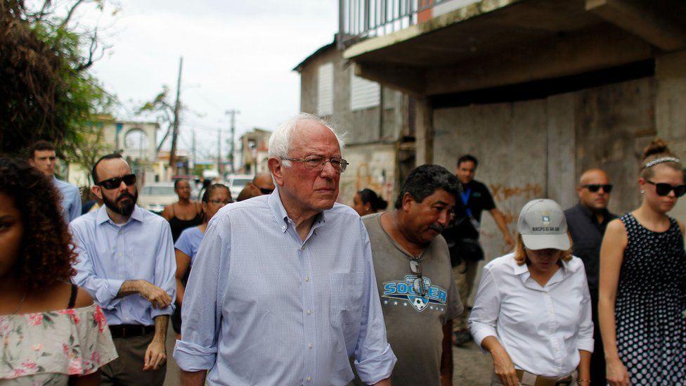 Bernie Sanders tours hurricane-ravaged Puerto Rico.