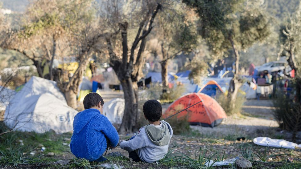 A refugee camp on Lesbos