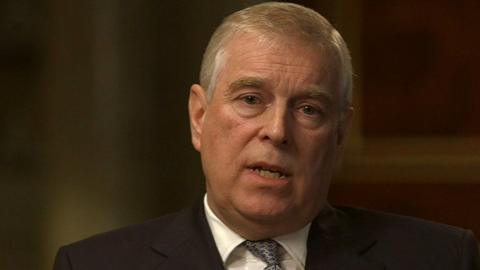 Prince Andrew being interviewed by the BBC