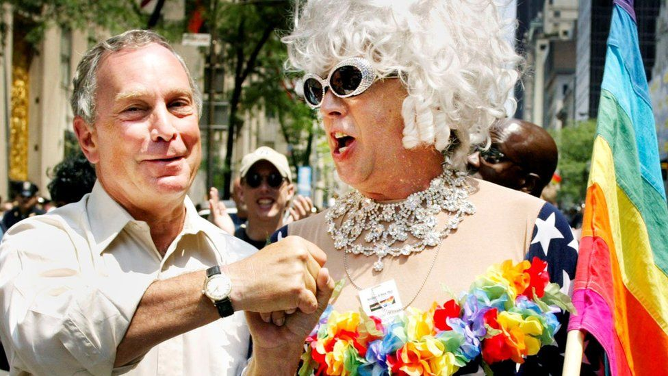 New York Mayor Michael Bloomberg greets Gilbert Baker, NYC Gay Pride 2002