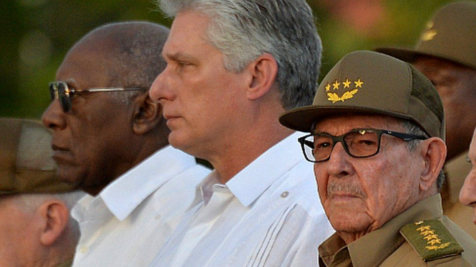 First Secretary of the Communist Party of Cuba, Raul Castro (r) along with Cuban president Miguel Diaz-Canel