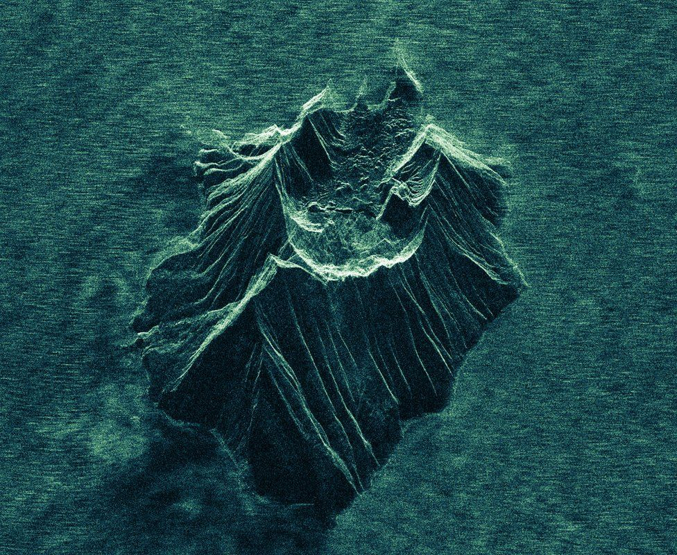 A satellite radar image showing White Island volcano following the eruption
