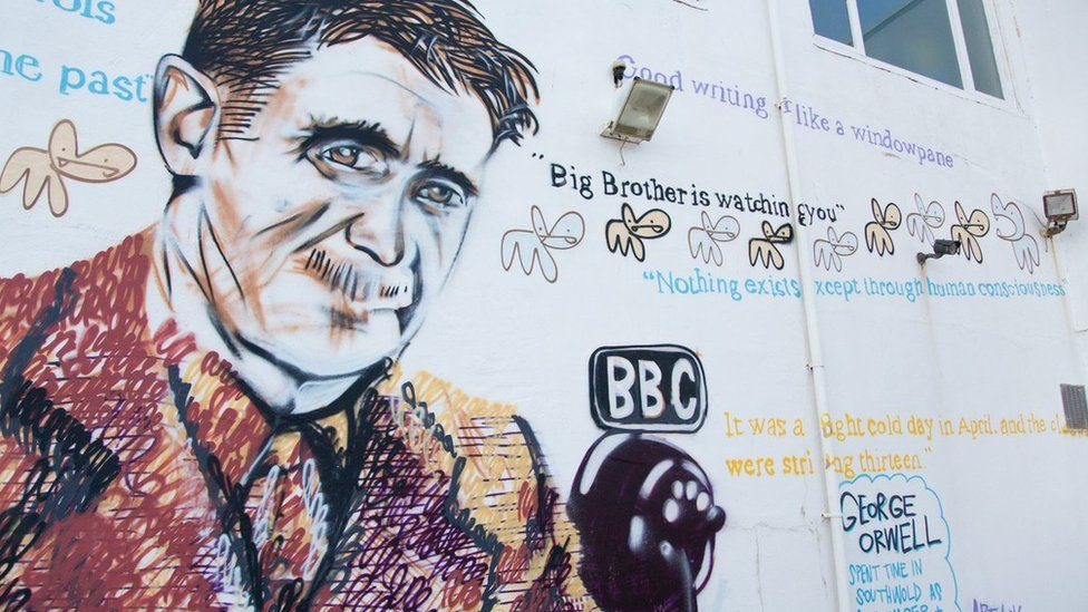 George Orwell mural on Southwold Pier