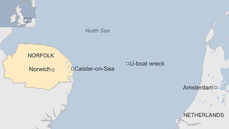 Map showing U-boat location