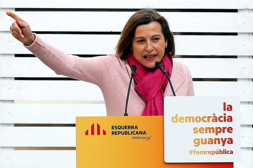 Carme Forcadell speaks at an ERC rally in Badalona, 10 December
