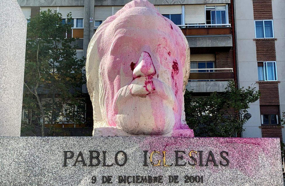 Vandalised statue dedicated to Pablo Iglesias (1850-1925), the founder of Spanish Socialist Party, at a park in Madrid, Spain