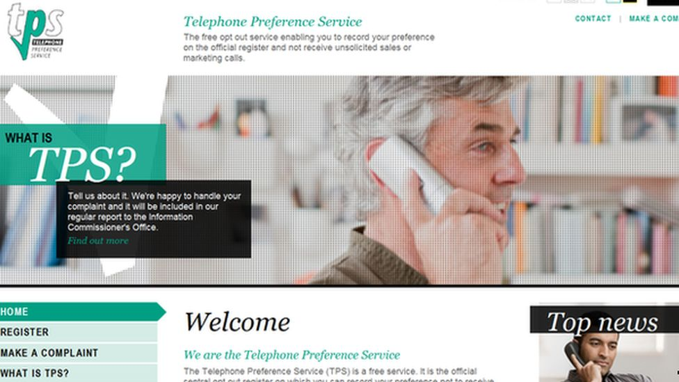 The Telephone Preference Service website