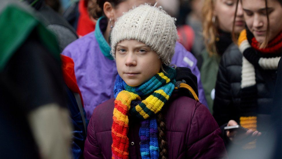 Swedish climate activist Greta Thunberg taking part in the Europe Climate Strike rally in Brussels, Belgium, in March 2020