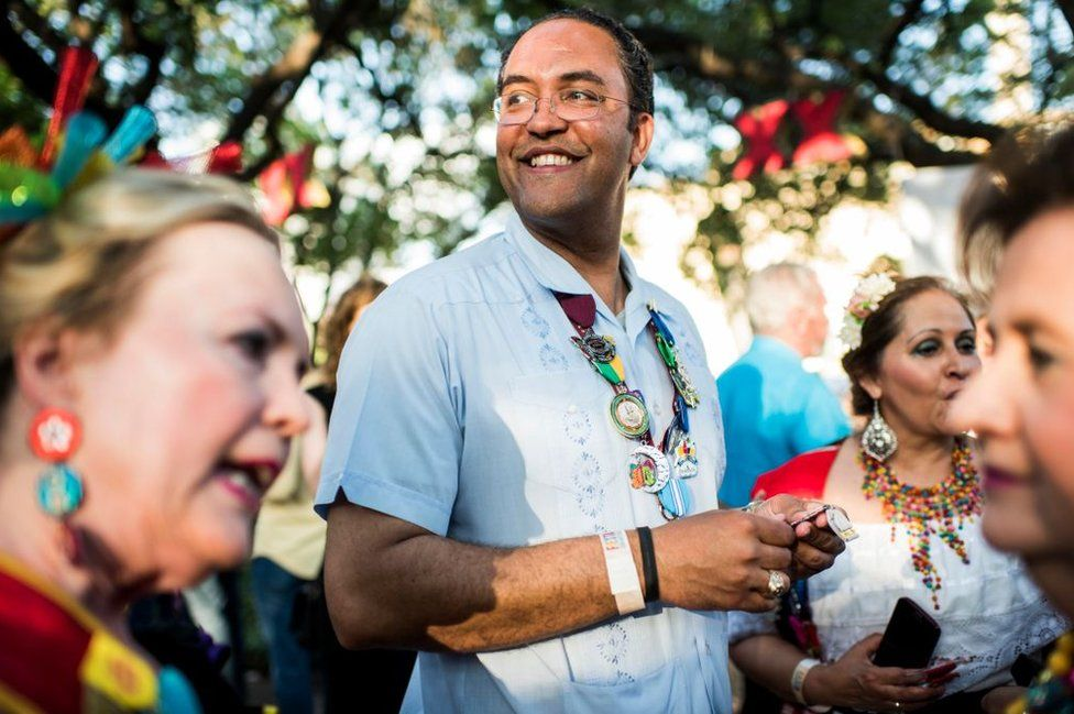 Will Hurd meets with constituents at the Fiesta San Antonio in 2017