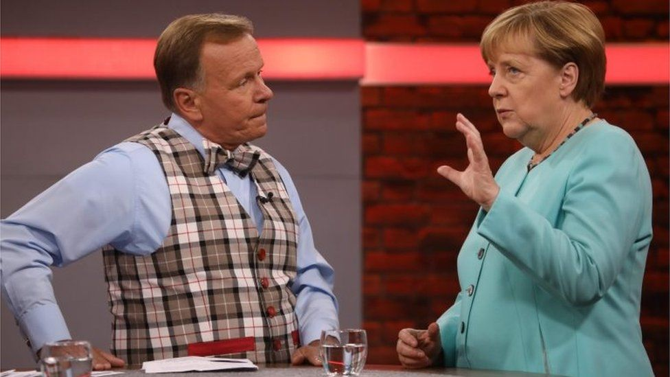 """Germany's Chancellor Merkel during a televised """"town hall meeting"""" in Berlin, 20 August 2017"""