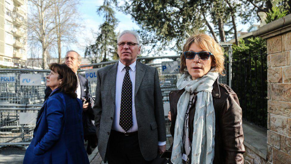 UN Special Rapporteur Agnes Callamard at the Saudi consulate in Istanbul