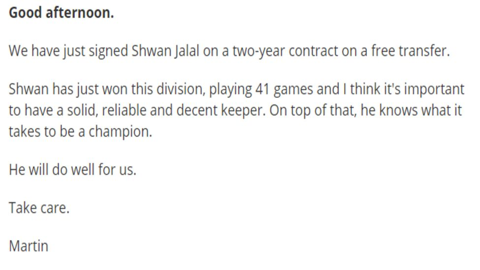 Martin Allen's player signing announcement of Shwan Jalala