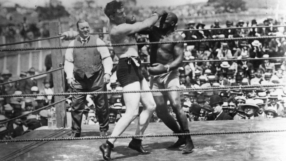 Jack Johnson , right, of the USA, world heavyweight title holder since 1908, in action against Jess Willard of the USA at Havana, Cuba in 1915. Willard took the title with a knock-out in the 26th round and held onto it until 1919