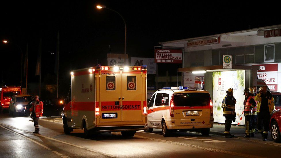 German emergency services in the area where a man with an axe attacked passengers on a train near the city of Wurzburg, Germany. July 19, 2016