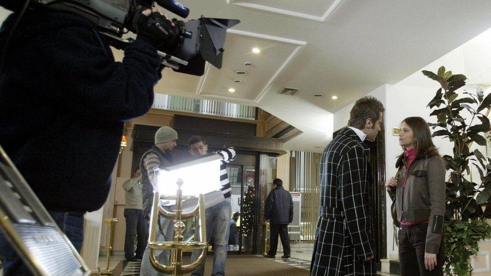 Actors Ozgur Cevik and Nehir Erdogan filming Turkish soap opera Foreign Bridegroom