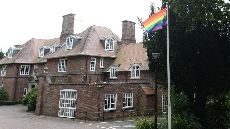 Pride flag at Stormont House in 2017