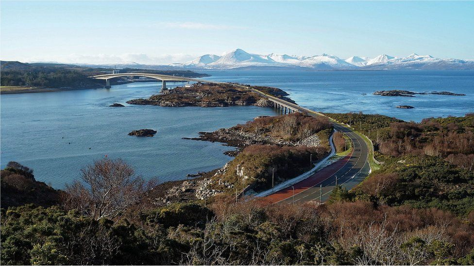 View to Skye from viewpoint on the Plock of Kyle