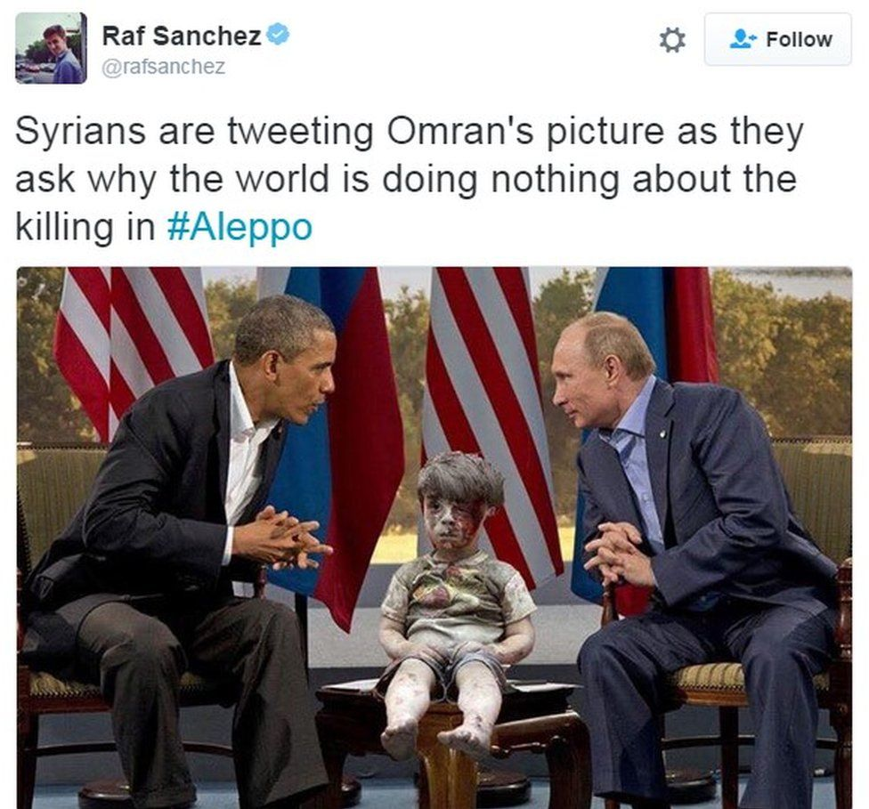 """Syrians are tweeting Omran's picture as they ask why the world is doing nothing about the killing in #Aleppo"""