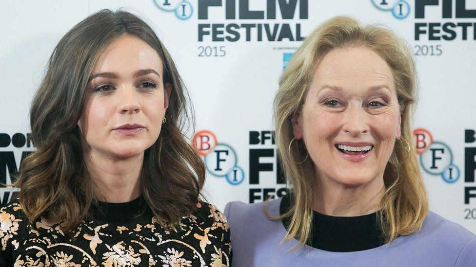 Carey Mulligan (left) and Meryl Streep at a photocall for their new film, Suffragette, at The Lanesborough Hotel, in London