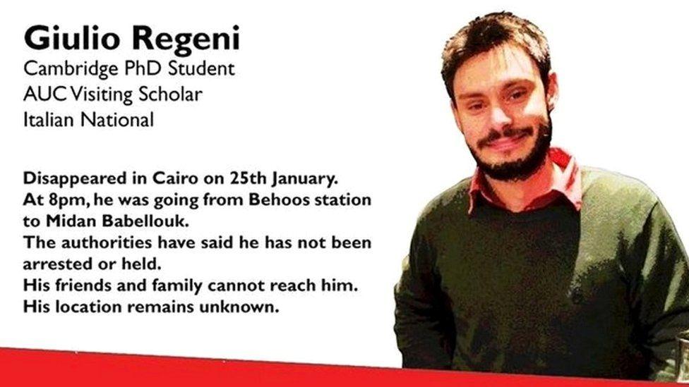 Poster after disappearance of Giulio Regeni in January 2016