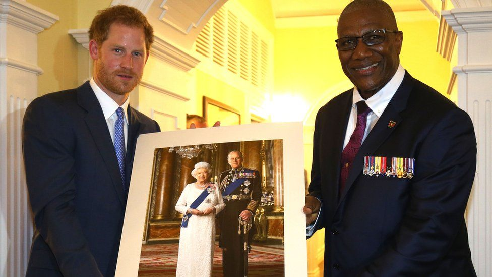 Prince Harry with Antigua's governor general Sir Rodney Williams