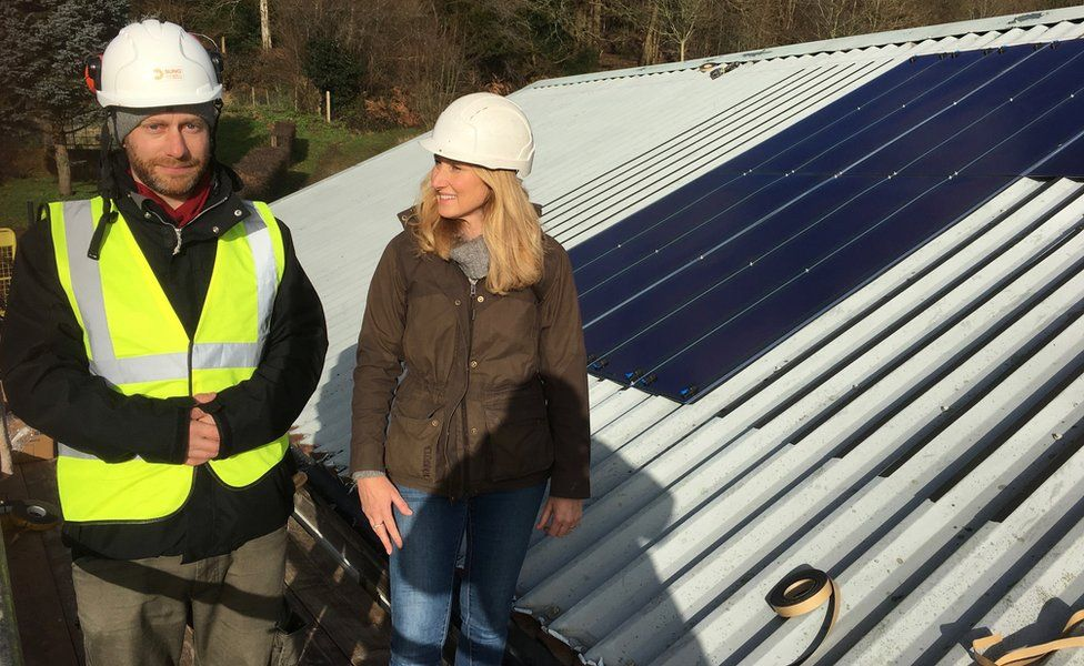 Ben Ingham and Jo installing solar on the farm