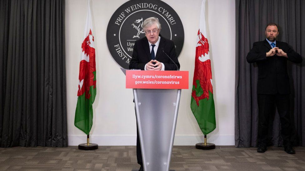 Mark Drakeford at a press conference