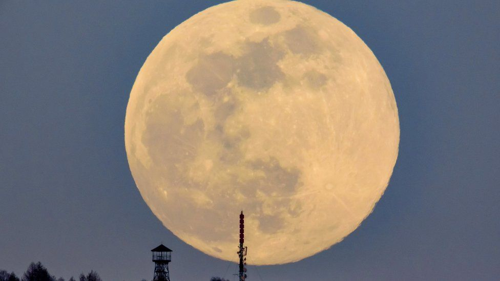 A view of the supermoon in Budapest, Hungary