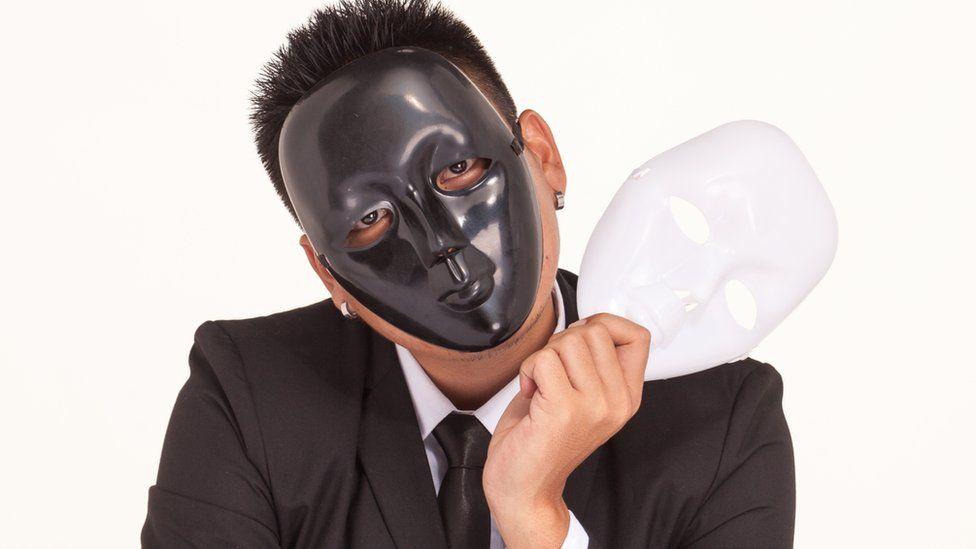 Businessman wearing masks
