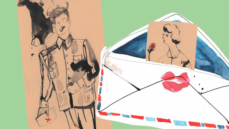 Drawing of Bob and Norma Beasley and a letter sealed with a kiss
