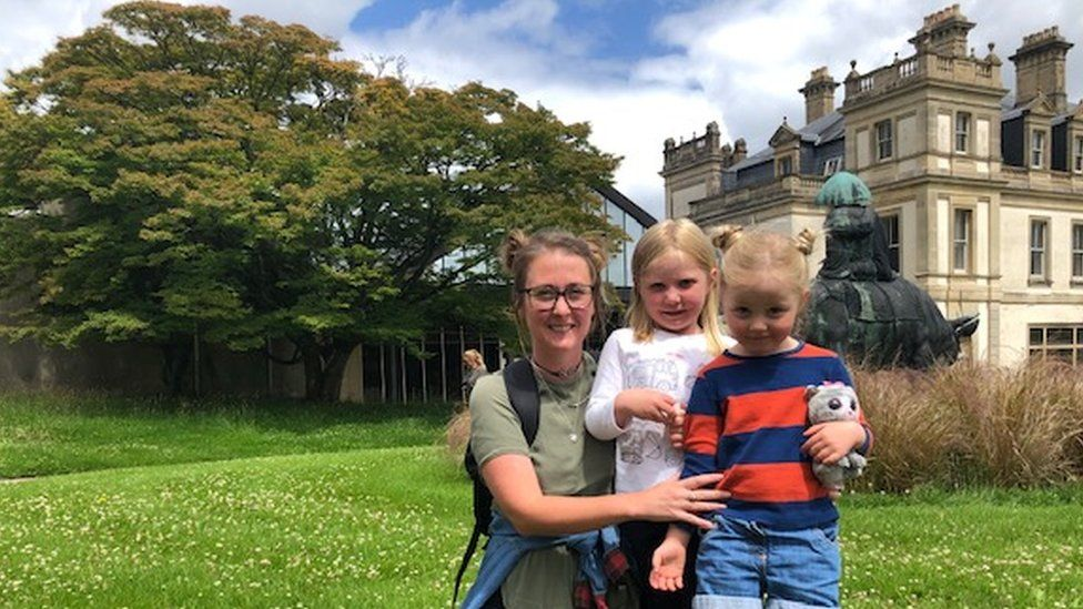 Hayley Graham visiting Duffryn Gardens with daughter Annabel and friend Isobel