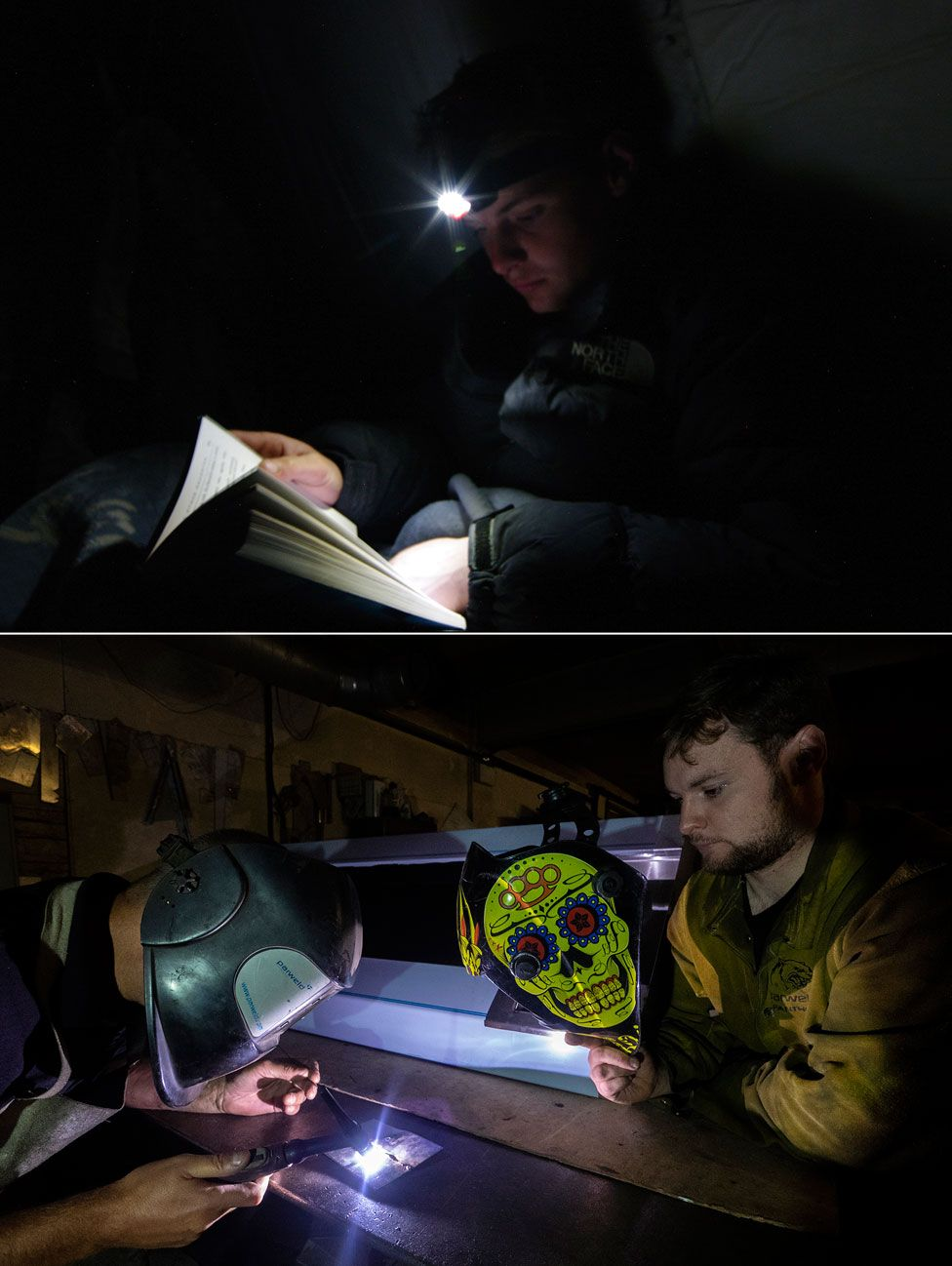 Photos showing Dan Eccles in the army and as a welder