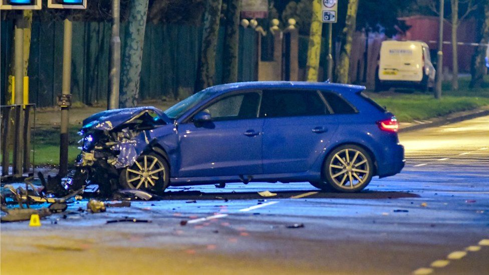The Audi at the scene of the crash