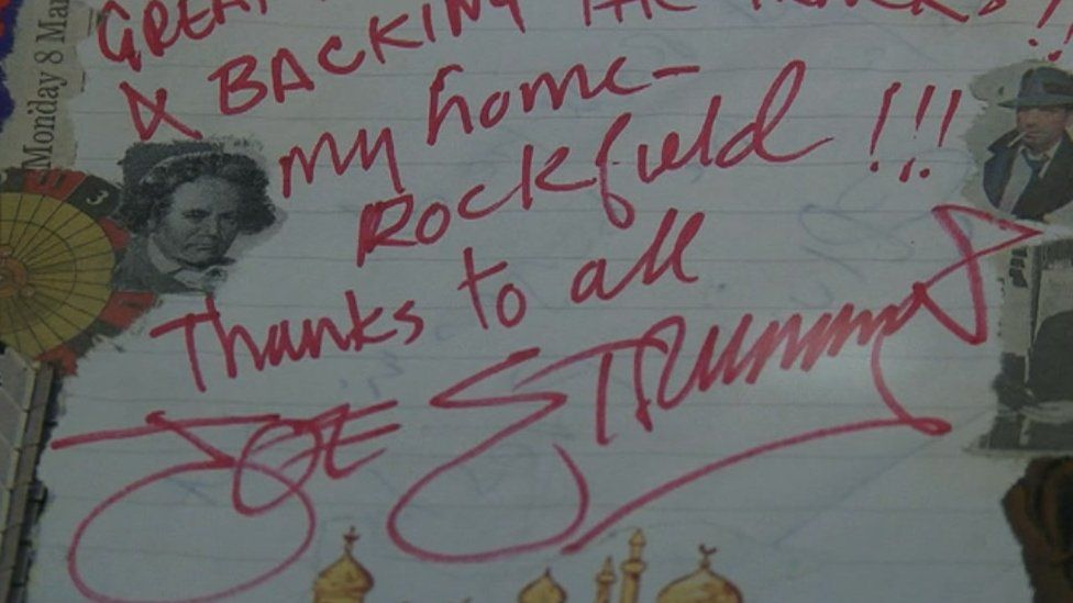 A signed note from Clash front man Joe Strummer to Rockfield Studios