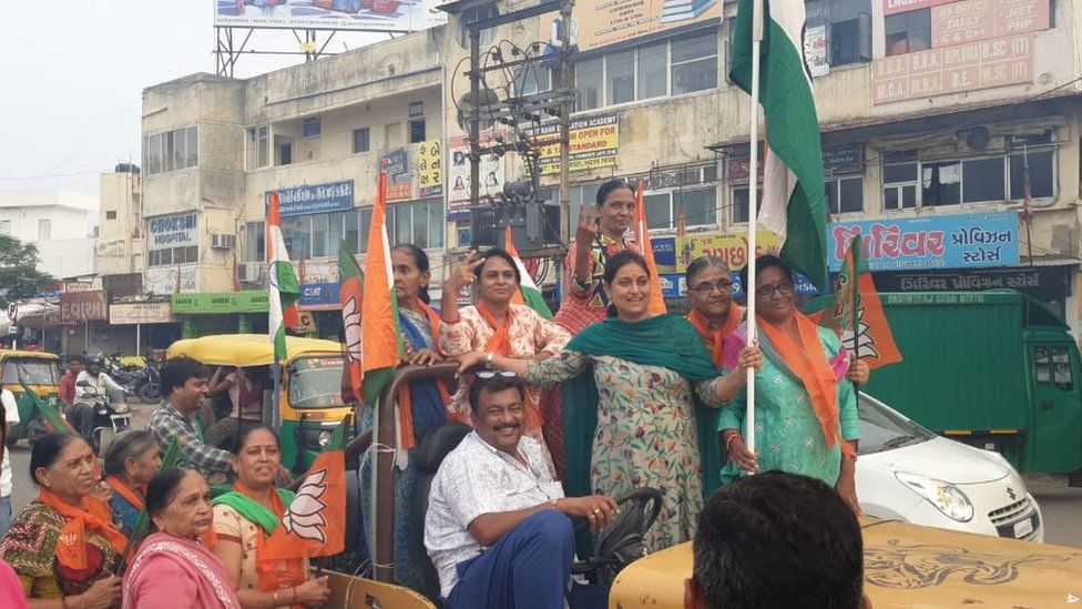 Women BJP supporters celebrating in Ahmedabad.