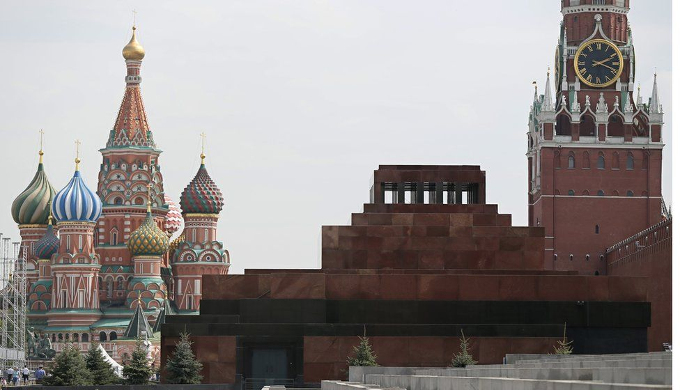 The Lenin mausoleum on Red Square with St Basil's Cathedral in the background