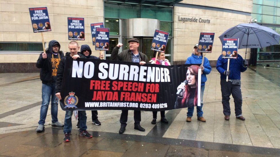 Britain First protest outside court