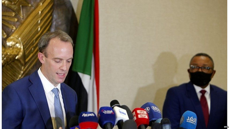 Dominic Raab on a recent visit to Sudan