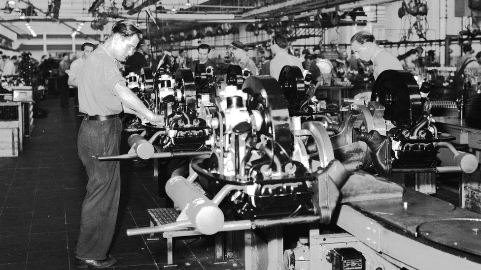 Workers at VW's Wolfsburg plant in the 1950s