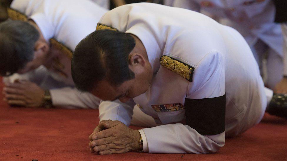 Thai Prime Minister Prayuth Chan-ocha at a bathing ceremony