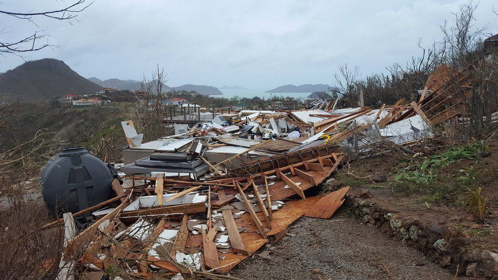 A destroyed house on the French administered territory of Saint Barthelemy, after the passage of Hurricane Irma. 7 Sept 2017