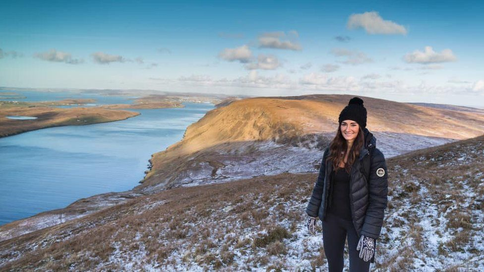 Leah on Clift Hill in Shetland