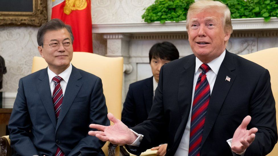US President Donald Trump and South Korean President Moon Jae-in hold a meeting in the Oval Office of the White House in Washington, DC, May 22, 2018.