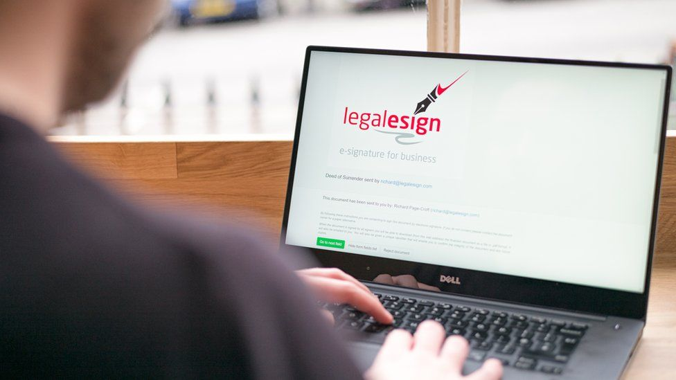 Legalesign page on laptop
