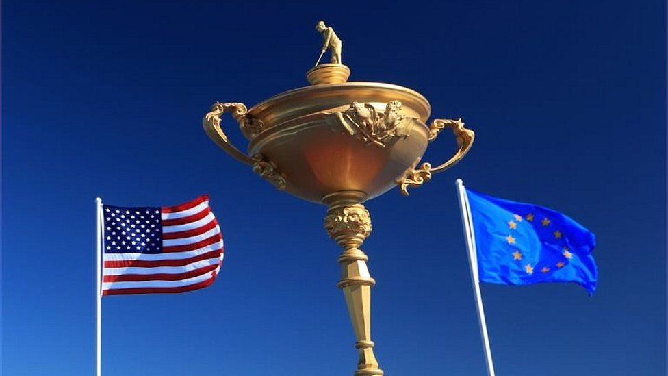 A giant Ryder Cup between the US and EU flags