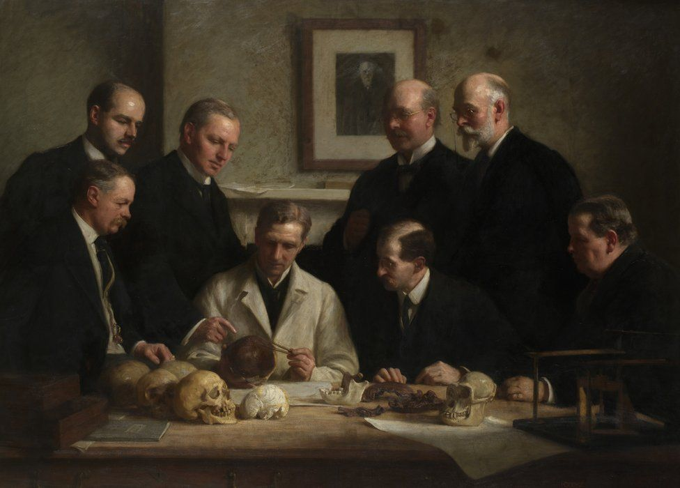 Painting of researchers with the samples