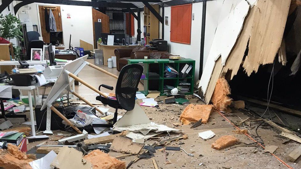 Damaged office building