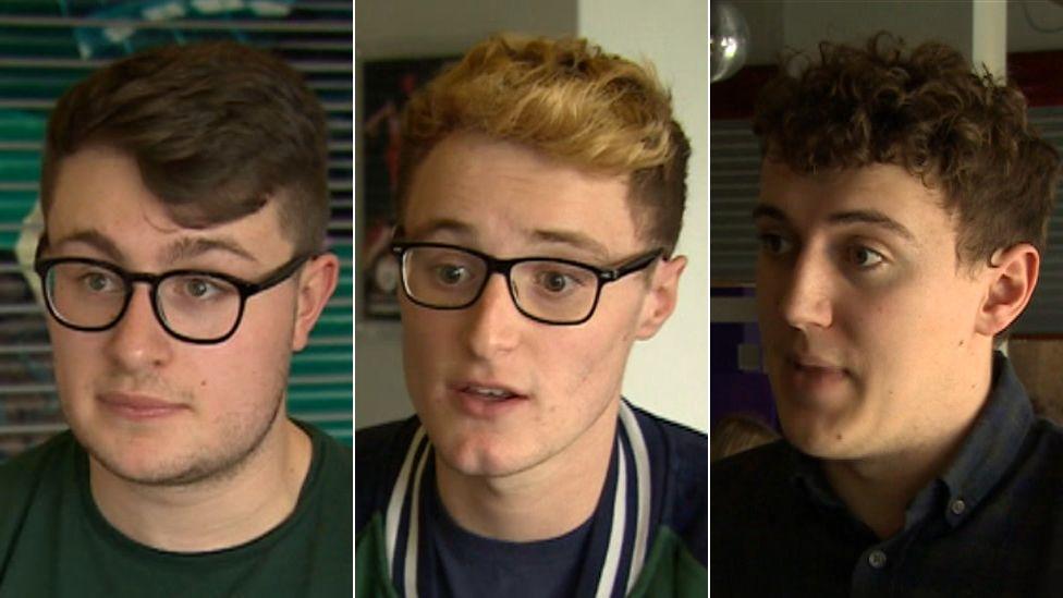 Left to right - Liam Ketcher; Jacob Morris; Osian Morgan
