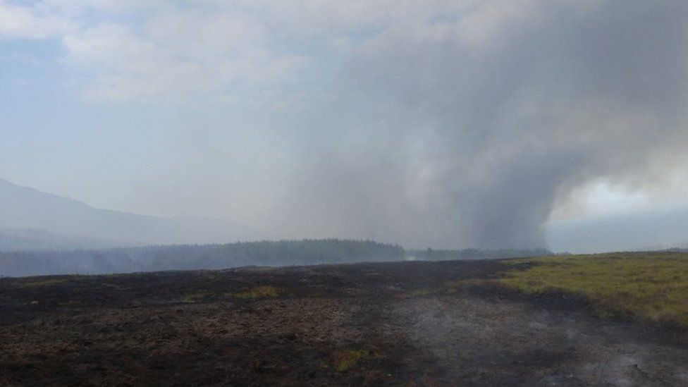 The gorse fire at Ben Bhraggie on Sunday