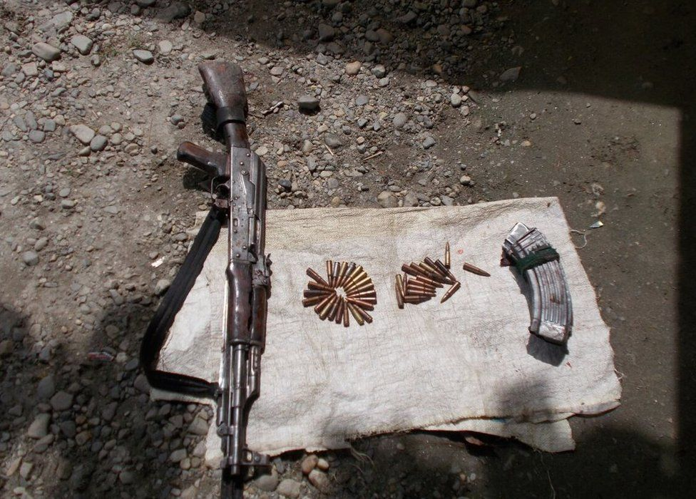 The army has recovered weapons and ammunition from the area